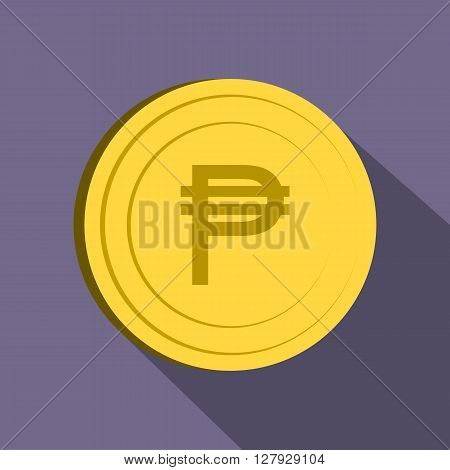 Peso icon in flat style on purple background