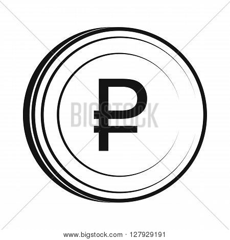 Ruble icon in simple style isolated on white background