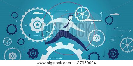 Vector illustration of business mechanism in motion