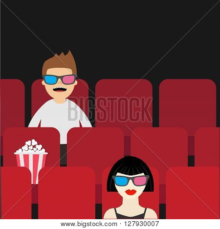 People sitting in movie theater. Film show Cinema background. Viewers watching movie in 3D glasses. Man and woman cartoon character. Popcorn box on red seat. Flat design Vector illustration
