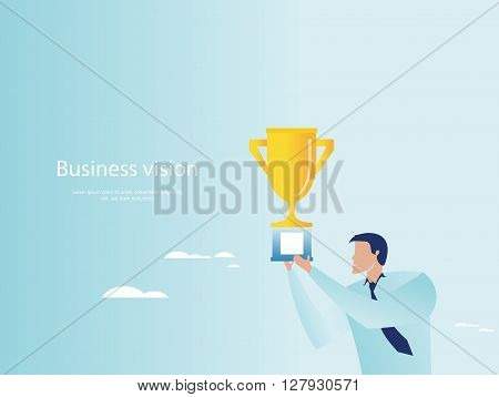 Vector illustration of triumph in business. Businessman holding trophy