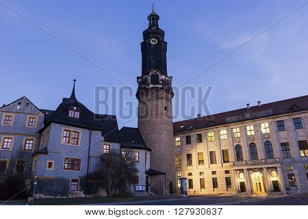 WEIMAR, THURINGIA, GERMANY - JANUARY 6, 2015:  Weimar Castle in Germany in the morning.