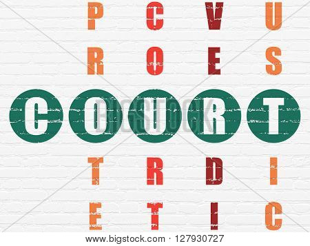 Law concept: Painted green word Court in solving Crossword Puzzle