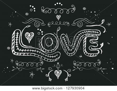 Vector illustration of love hand written message