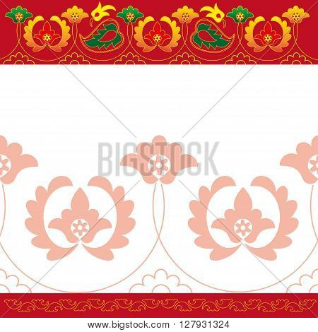 Tatar folk ornaments red, card, national, items
