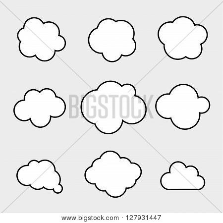 Set of vector clouds. Nature weather icons