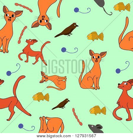 cat, kit, pattern drawing, kids  texture, textile, silhouette, domestic, decoration, set, mammal