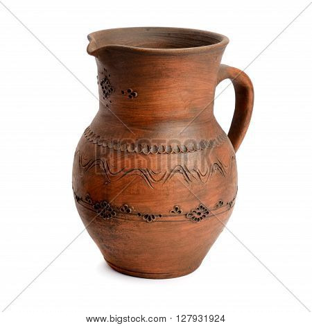 A clay pot isolated on white background