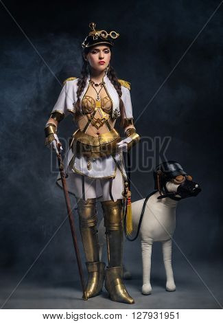 Portrait Of A Beautiful Steampunk Girl With Walking Stick And Dog
