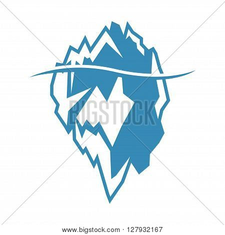 Vector blue iceberg icon on white background. Iceberg mountain shape