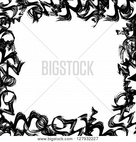 grunge black and white hand drawn frame. vector frame. background for your design, postcard, web. abstract hand sketched frame.