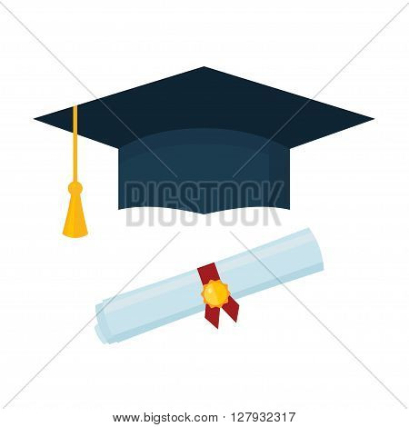 Graduation cap and diploma scroll on white background. Flat vector illustration.