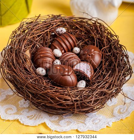 Easter Egg Shaped Chocolate Candies In A Nest