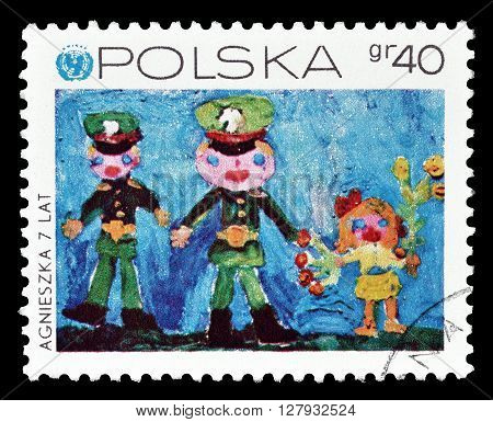 POLAND - CIRCA 1971 : Cancelled postage stamp printed by Poland, that shows Children's drawing.