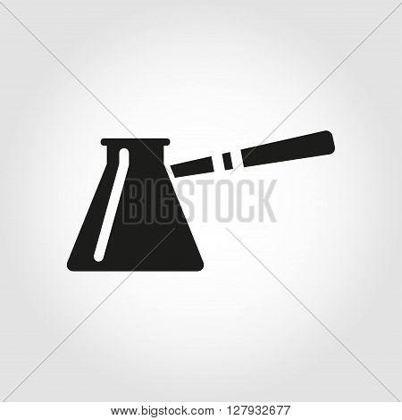 Vector black cezve for coffe icon. Turkish fishborn coffee pot prepared coffee