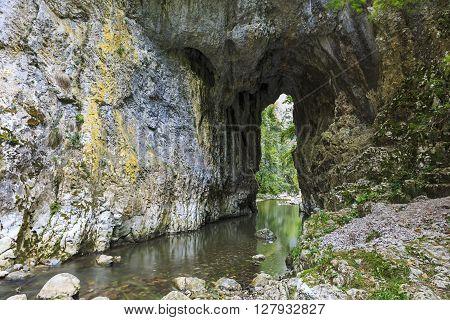 Gorges portal and stream in summer, Transylvania, Romania