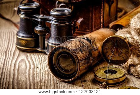 Vintage Grunge Still Life. Antique Items On Wooden Table