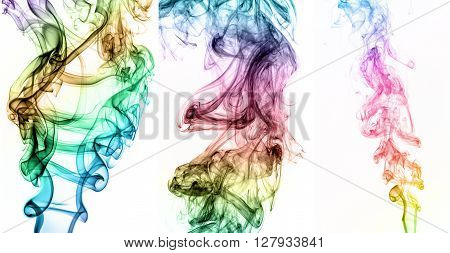 Collage Of Abstract Colorful Smoke On Black Background