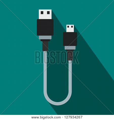 USB cable icon in flat style on a blue background