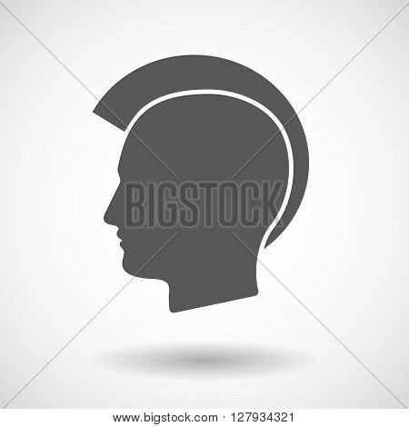 Isolated Vector Illustration Of  A Male Punk Head Silhouette