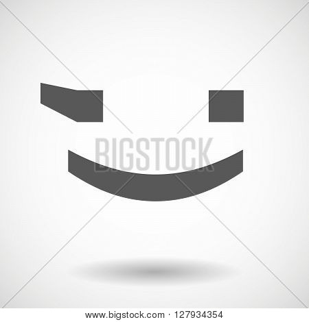 Isolated Vector Illustration Of  A Wink Text Face Emoticon