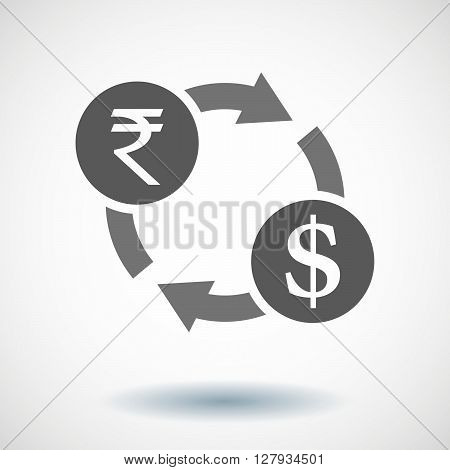Isolated Vector Illustration Of  A Rupee And Dollar Exchange Sign