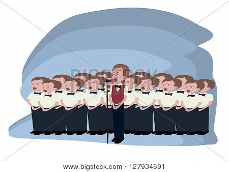 boys choir  - funny cartoon illustrating groupe of singing boys