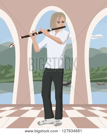 man playing flute at romantic hall - cute vector illustration