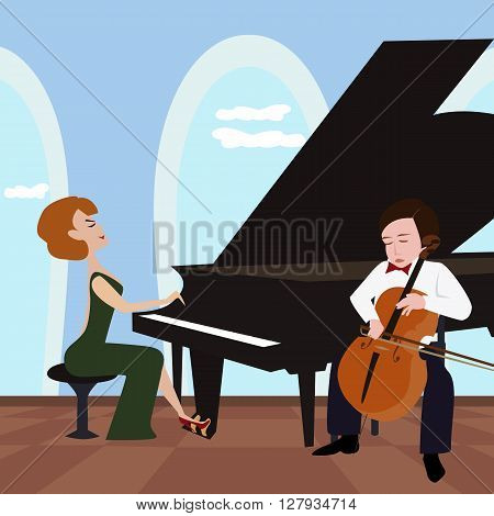 funny cartoon illustration of duet with woman playing piano and boy playing violoncello