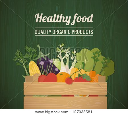 Healthy freshly harvested vegetables in a wooden crate and grocery shopping concept banner