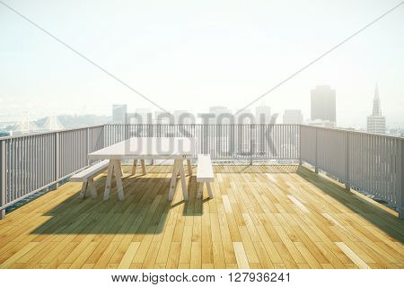 Balcony design with table and benches wooden floor and railing on sunlit city background. 3D Rendering