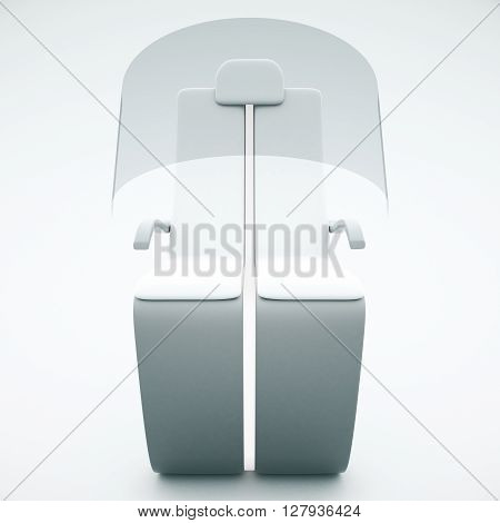Frontview of futuristic chair with shield on light background. 3D Rendering
