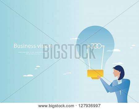 Creative business concept. Businesswoman holding light bulb