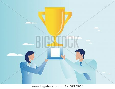 Triumph in business concept. Business people holding trophy