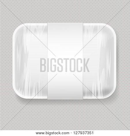 White Empty Blank Styrofoam Plastic Food Tray Container. Mock Up Template package