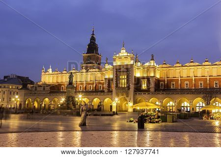 View on Old Town in Cracow in Poland in the evening