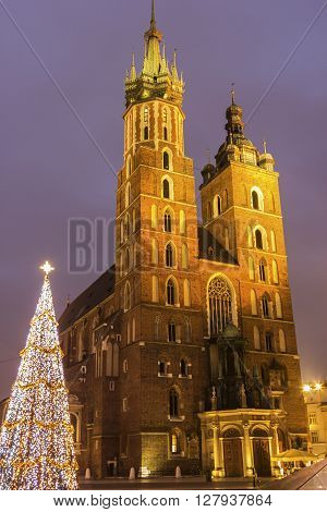 St. Mary's Basilica in Cracow in Poland during Christmas