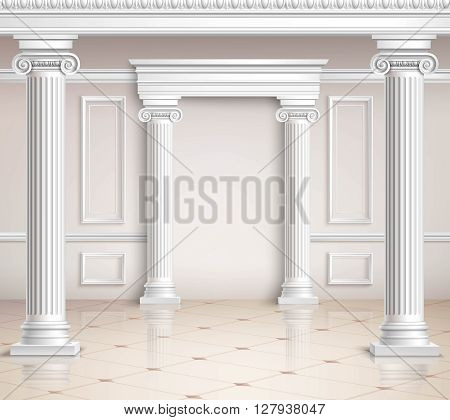 Classic Hall Design. Interior Realistic Design. Classic Interior Vector 3d Illustration. Classic Interior Background. Classic Interior Hall. Classic Interior Style.
