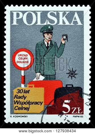 POLAND - CIRCA 1983 : Cancelled postage stamp printed by Poland, that shows Customs officer.