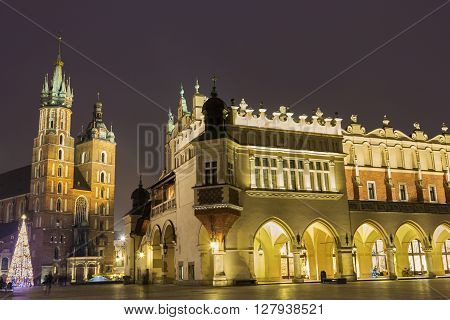 Old Town in Cracow in Poland during Christmas