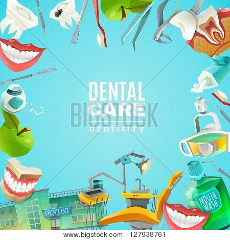 Complete mouth care dentals clinics comprehensive flat square frame background poster abstract decorative vector illustration