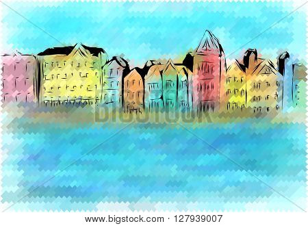 curacao. abstract city on a multicolor background