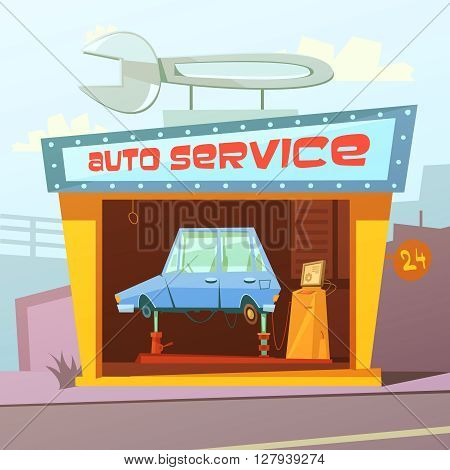 Auto service building cartoon background with car inside vector illustration