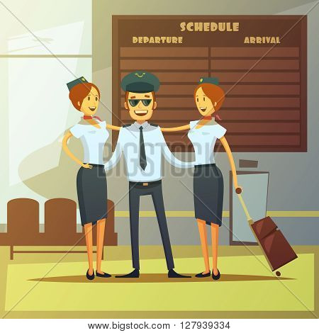 Airlines cartoon background with pilot and stewardess in airport hall vector illustration