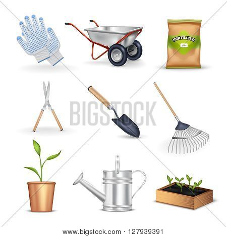 Gardening realistic decorative icons set of tools for work in garden seedling gloves and package with fertilizer vector illustration