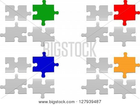 Notice board of three white gradient puzzle pieces and one color piece. All is on the white background.