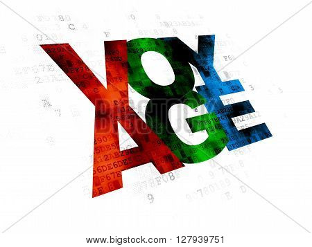 Tourism concept: Pixelated multicolor text Voyage on Digital background
