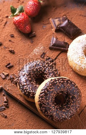 Donuts With Fresh Strawberries And Chocolate