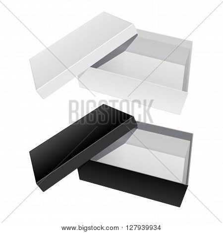 White and Black blank Package Box Opened with the cover removed. For shoes electronic device and other products. Vector illustration