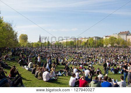 Crowded Park (goerlitzer Park) In Berlin, Kreuzberg During May